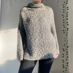 GARAGE Oversized Grey Knit Sweater Turtleneck